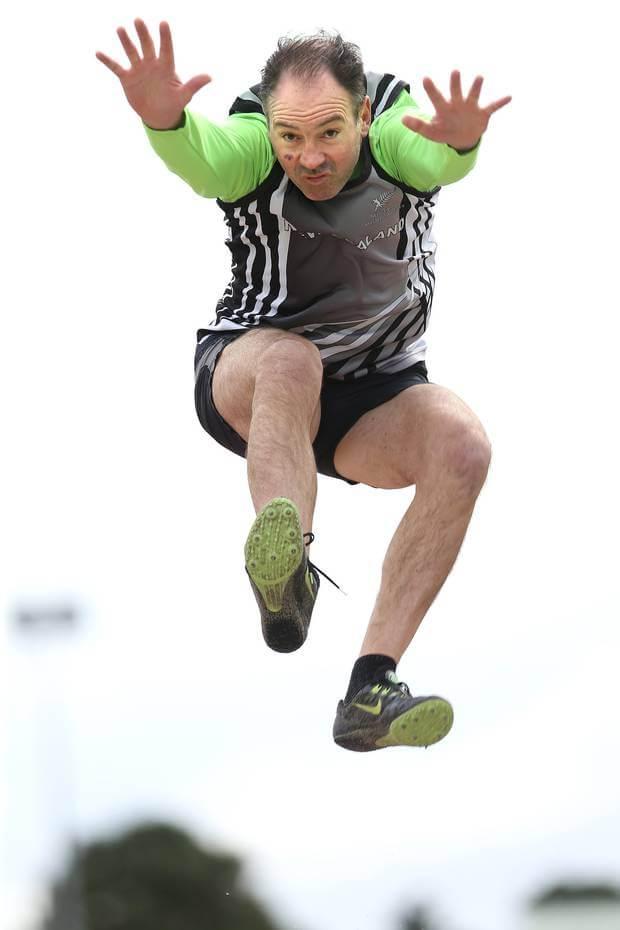 Bruce Solomon takes a jump. Photo / John Borren